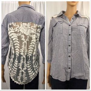 Striped button down with lace back